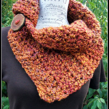 Crochet Cowl. Orange. Button. Warm color. scarf. Chunky. Soft. Made by Bead Gs on ETSY. Wood Button. Winter Scarf.