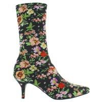 MIA Camilla - Black/Multi Floral Stretch Lycra Pull-On Boot
