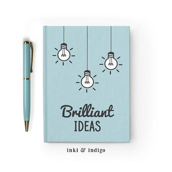Writing Journal, Hardcover Notebook, Sketchbook, Diary, Idea Journal, Blue Notebook, Light bulbs, Blank or Lined pages - Brilliant Ideas