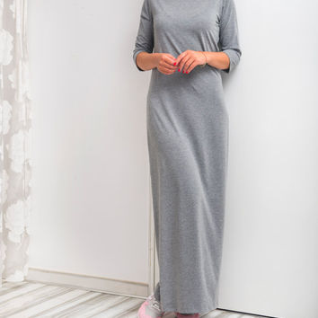NEW SS16 Grey Maxi Dress, Long dress, Spring dress, Summer Dress, Casual dress, Day dress, Long Dress