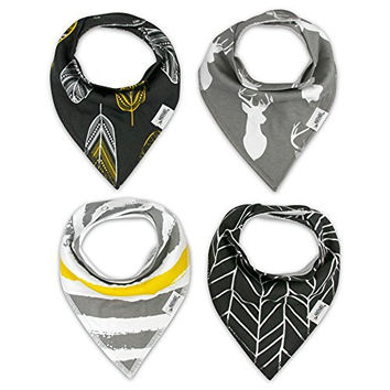 Bandana Bib Set of 4 by Matimati Baby - Extra Absorbent Drool Bibs with Snaps for Boys & Girls (Gold & Gray)