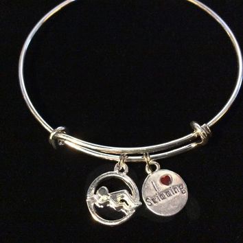 I love Swimming charm Silver Expandable Bangle Bracelet Sports Team Coach Gift Adjustable Wire Charm Bangle