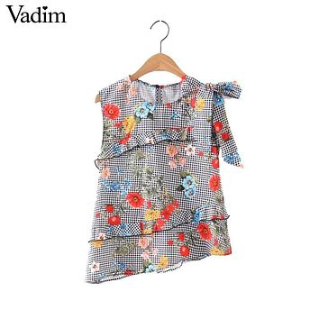 Vadim women sweet ruffles plaid floral shirt bow sleeveless European style ladies summer casual brand tops blusas WT442