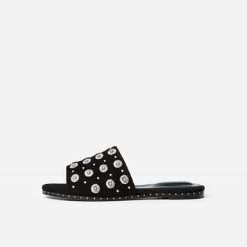 The Kooples United Kingdom Store - Black suede flip-flops with daisy rivets