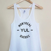 YUL - Montreal Quebec - Light Weight White Racerback Womens Tank Top - Sizes - Small Medium Large