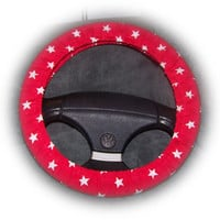 Red and white Star print cotton car steering wheel cover