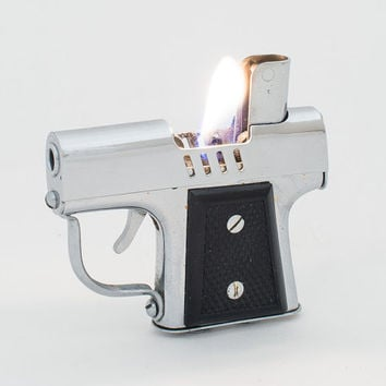 Working Occupied Japan Chrome Pistol Lighter