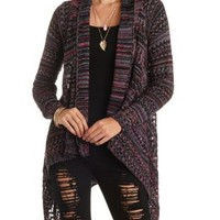 Rainbow Marled Pointelle Cardigan Sweater - Burgundy Cmb