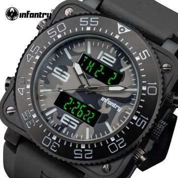 Men Sport Watches INFANTRY Luxury Brand Camo Style Quartz Watch Waterproof Wristwatches For Men Square Face Relogio Masculino