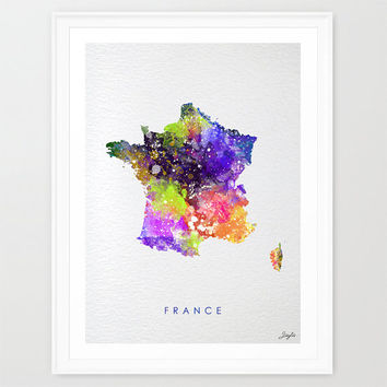 France Map, world Map,Watercolor Art Print,Wall Art Poster/Hanging,Home Decor,Kids Art,Motivational,Inspirational, #206