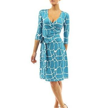 PattyBoutik Women's Faux Wrap A Line Dress