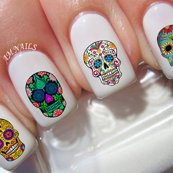 60 Sugar Skull Nail Decals