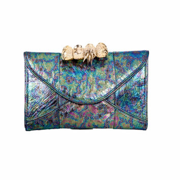Multi-Color Iridescent Leather Knuckle Clutch