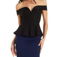 Black Off-the-Shoulder Plunging Peplum Top by Charlotte Russe
