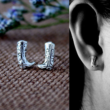 Sterling Silver Cowboy Boots Earrings, Oxidized Stud Earrings, Cowgirl Boots Earrings, Boot Earrings, Country Girl Boots, western Earrings