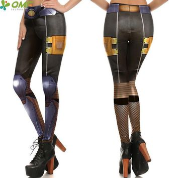 Metallic Golden Armor Assault Cosplay Yoga Pants Halloween Costume Gym Leggings CYBORG Training Tights Women Trousers Skinny