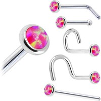 Solid 14KT White Gold 2mm Brilliant Pink Synthetic Opal Nose Ring