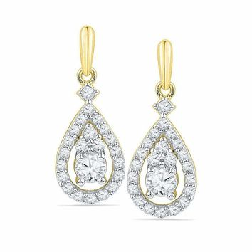 10kt Yellow Gold Women's Round Diamond Solitaire Teardrop Frame Dangle Earrings 1-2 Cttw - FREE Shipping (US/CAN)