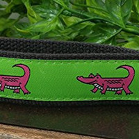Smiling Hot Pink Alligator Keychain Hand Sewn Lime Green Cotton Webbing Ribbon