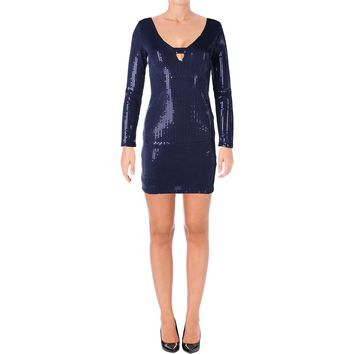 Aqua Capsule Womens Sequined Keyhole Party Dress