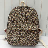Leopard Print Canvas Backpack