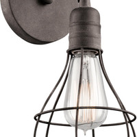 0-005796>Industrial Cage 1-Light Wall Sconce Weathered Zinc