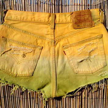 SALE Vintage Levi's Denim High Waist Cut off Shorts,(Size SMALL to MEDIUM)