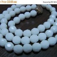 SALE Vintage Faceted Milk Glass Bead Necklace * Matinee Length * Wedding Bridal * Mid Century Jewelry * Jewellery