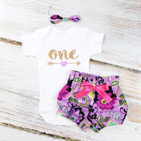 Baby Girls 1st Birthday Outfit | Purple Paisley High Waisted Bloomers Outfit with Gold One Purple Heart Arrow