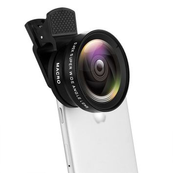 Phone Camera Lens 2 in 1 Professional HD 37MM 0.45X 49UV