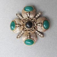 Signed CRAFT Vintage Ornate Maltese Cross Rhinestone & Cabochon Pin, Gem-Craft Brooch
