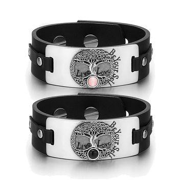 Tree of Life Celtic Powers Couples Pink Simulated Cats Eye Simulated Onyx Black Leather Bracelets