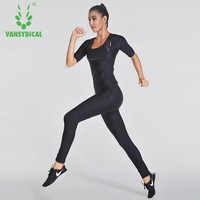 VANSYDICAL 2017 2pcs Gym Sportswear Fitness Track Training Suits Sweat Yoga Suit Womens Sports Running Suits