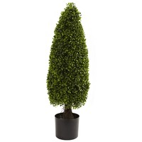 SheilaShrubs.com: 3' Boxwood Tower Topiary UV Resistant (Indoor/Outdoor) 5412 by Nearly Natural : Artificial Flowers & Plants