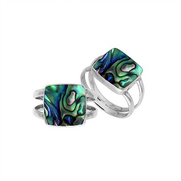 AR-6222-AB-7'' Sterling Silver Square Shape Ring With Abalone Shell