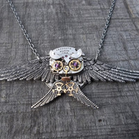 Clockpunk Steampunk Pendant Necklace, Watch Movement & Gears Hunting Owl with Swarovski Crystals on Cable Link Chain