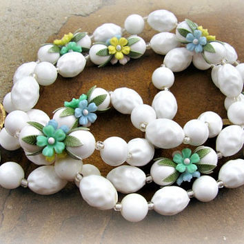 Two Strand Necklace, Plastic, White Beads, Pastel Flowers, Vintage 1950s, Enamel Clasp, Yellow, Pink, Blue, Green