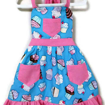 Girl's Cupcake/ Pin Dots Apron with Ruffled Hem, Turquoise and Pink, Sizes  L 7-8, XL 10-12