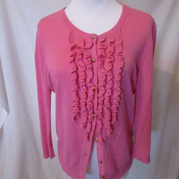 Talbots Cardigan Sweater Women's Petite Small Pink Ruffle Front 3/4 Sleeves