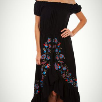 Honey Creek by Scully Embroidered Ruffle Maxi Dress