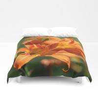 Lilies Come Lately Duvet Cover by Theresa Campbell D'August Art