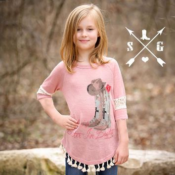 Southern Grace Girls Life is the Better in Boots on Pink with Ivory Lace & Pom Trim