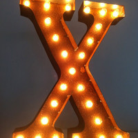 Vintage Marquee Lights Letter X by VintageMarqueeLights on Etsy