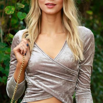 Velvet Wrap Top Taupe