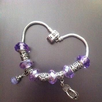 Pandora Bracelet with Charms and Crystal Purple Faceted Beads