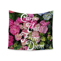 "Chelsea Victoria ""Carpe That F-Ing Diem"" Nature Pink Wall Tapestry"