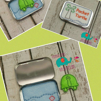 Pocket stuffed turtle tin play set, embroidered, travel toy, game, role playing, stuffie, stuffed animal, quiet toy, toy, make believe, doll