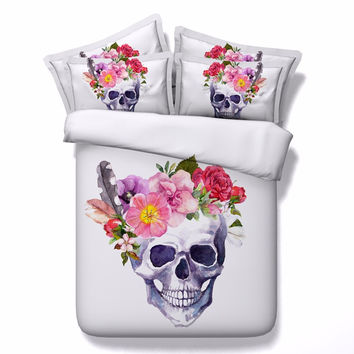 New Design 3D Sugar Skull Print Duvet Cover Set High Quality