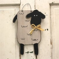 Primitive Wood Sheep Hanging Wall Decor
