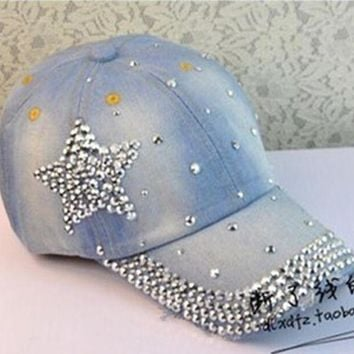 PEAPU3S 2017 new design women rhinestone star denim baseball cap fashion pentagram gorras snapback hat